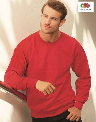 SS120 Raglan Sweat, Fruit of the Loom, Red