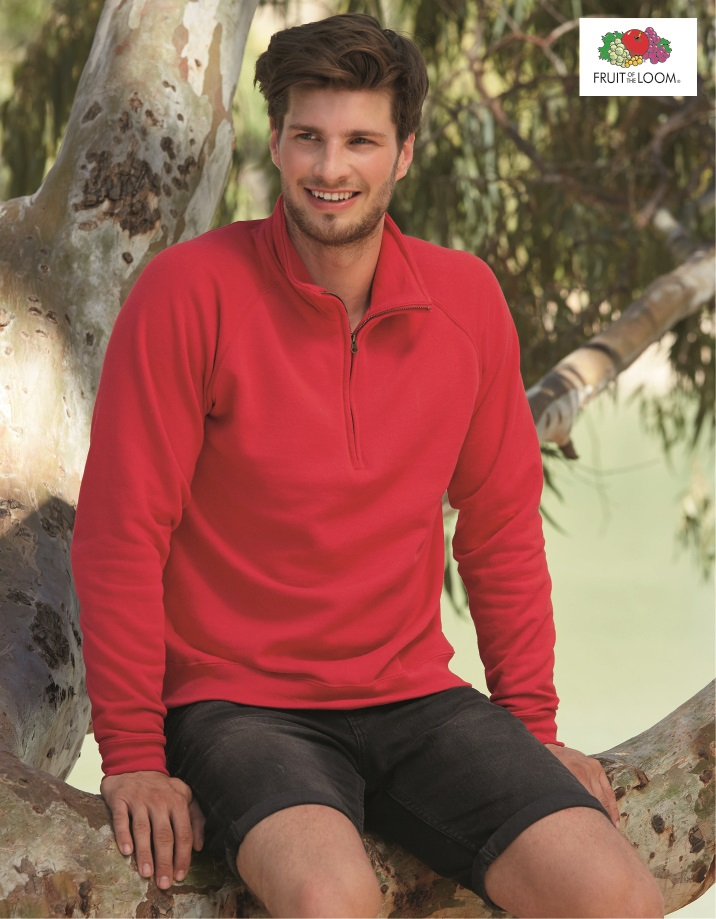 SS17 Classic 80/20 Zip Neck Sweat, Fruit of the Loom, Red