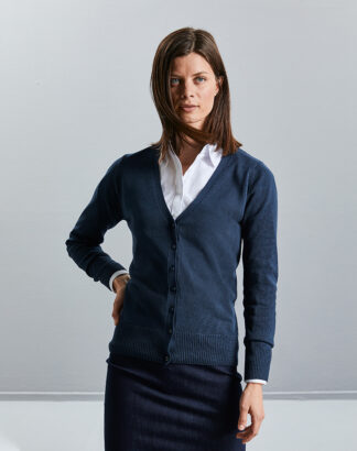 715F Ladies V Neck Knitted Cardigan