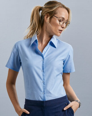 933F Ladies Short Sleeve Oxford Shirt, Russell Collection