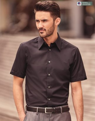 955M Men's Short Sleeve Tencel Fitted Shirt, Russell Collection