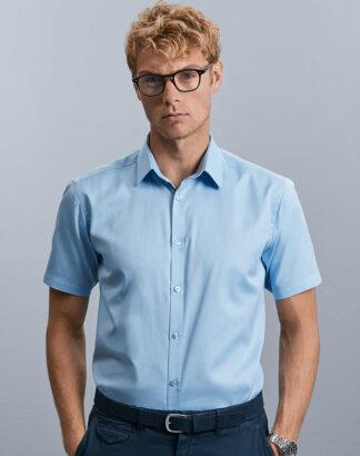 963M Men's Short Sleeve Herringbone Shirt, Russell Collection