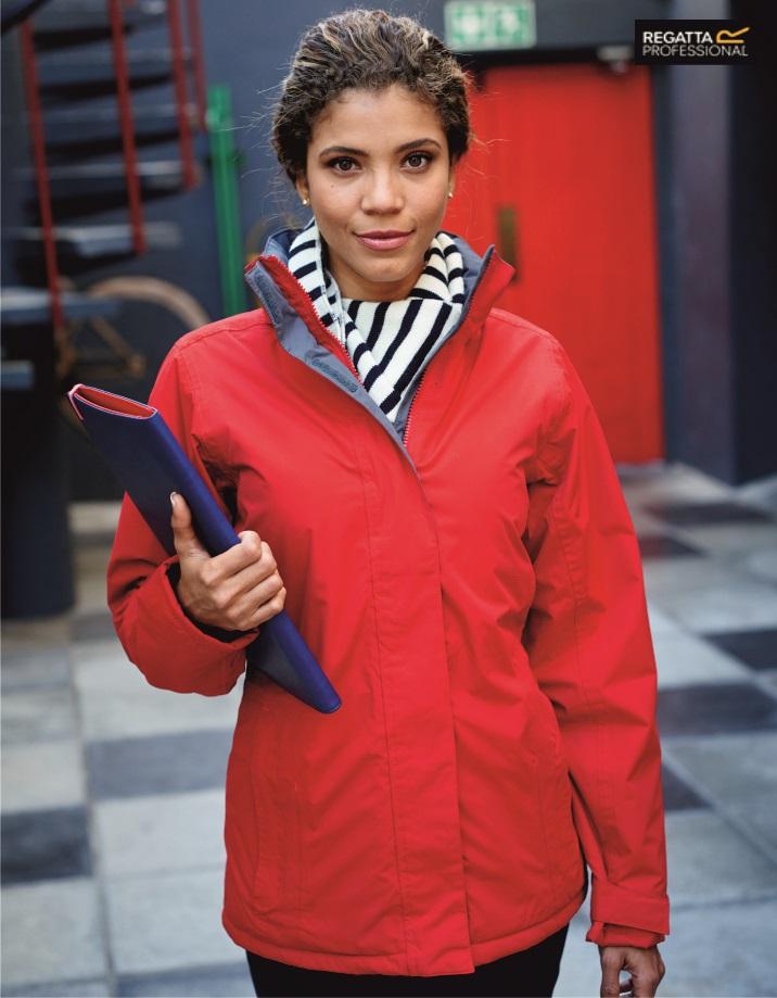RG052 Ladies Beauford Waterproof Insulated Jacket, Regatta Professional, Classic Red/Seal Grey