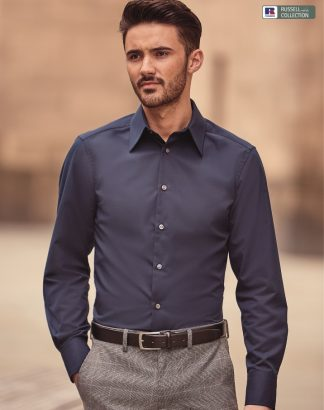 954M Men's Long Sleeve Tencel Fitted Shirt, Russell Collection